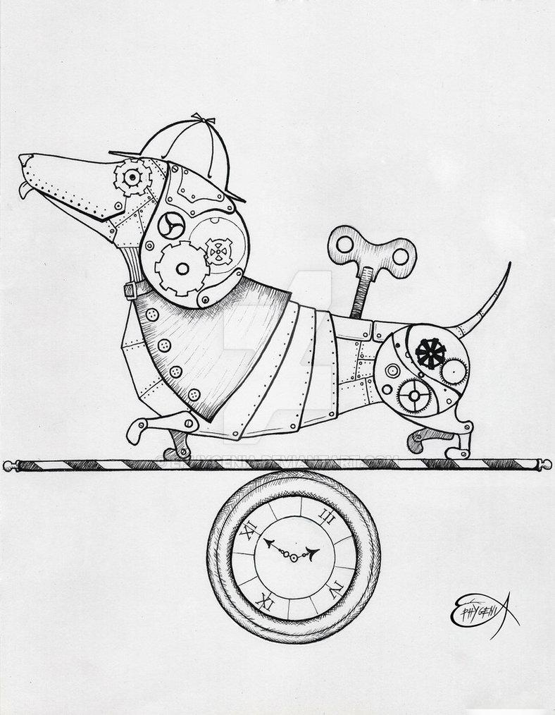steampunk_clockwork_dachshund_wip_by_ephygenia-d6bn3nl